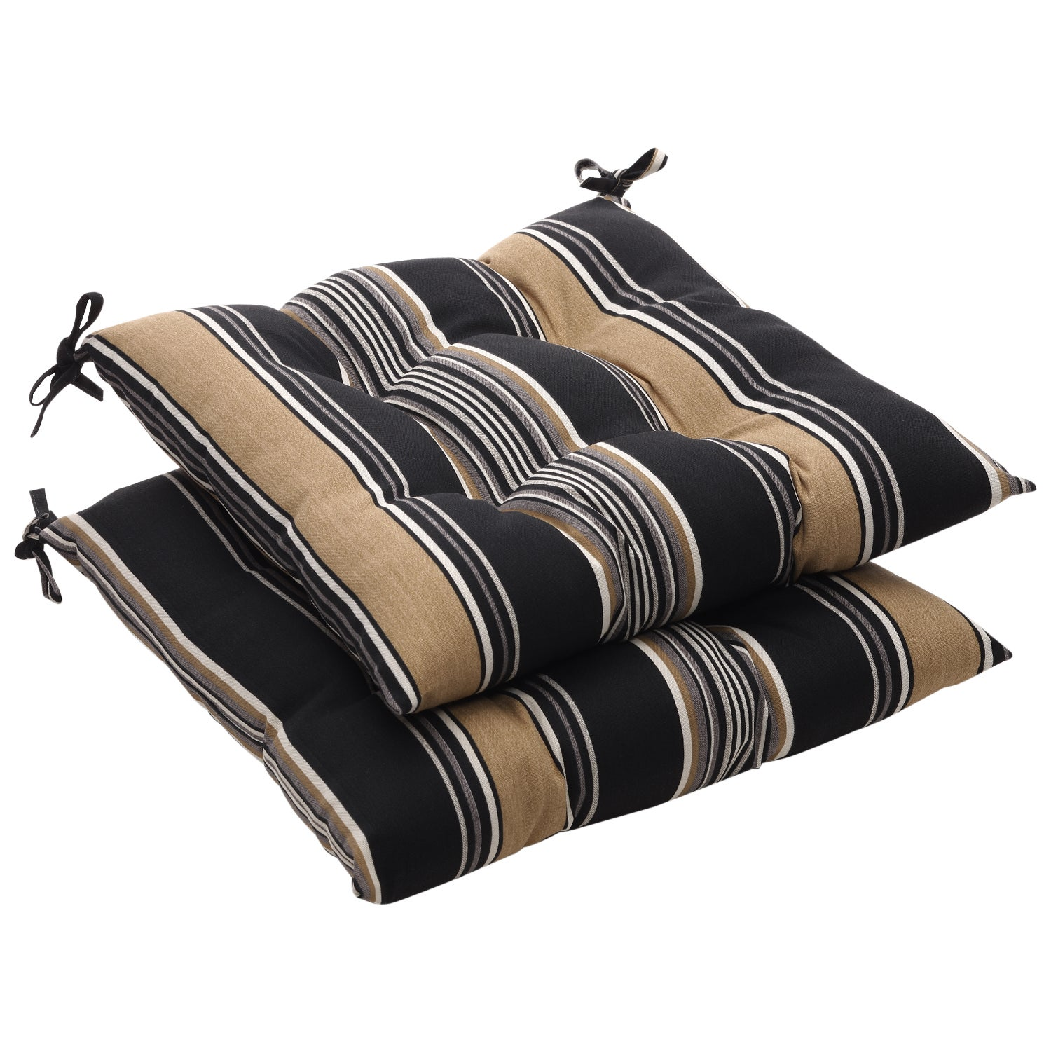 Black Tan Stripe Outdoor Tufted Seat Cushions Set of 2