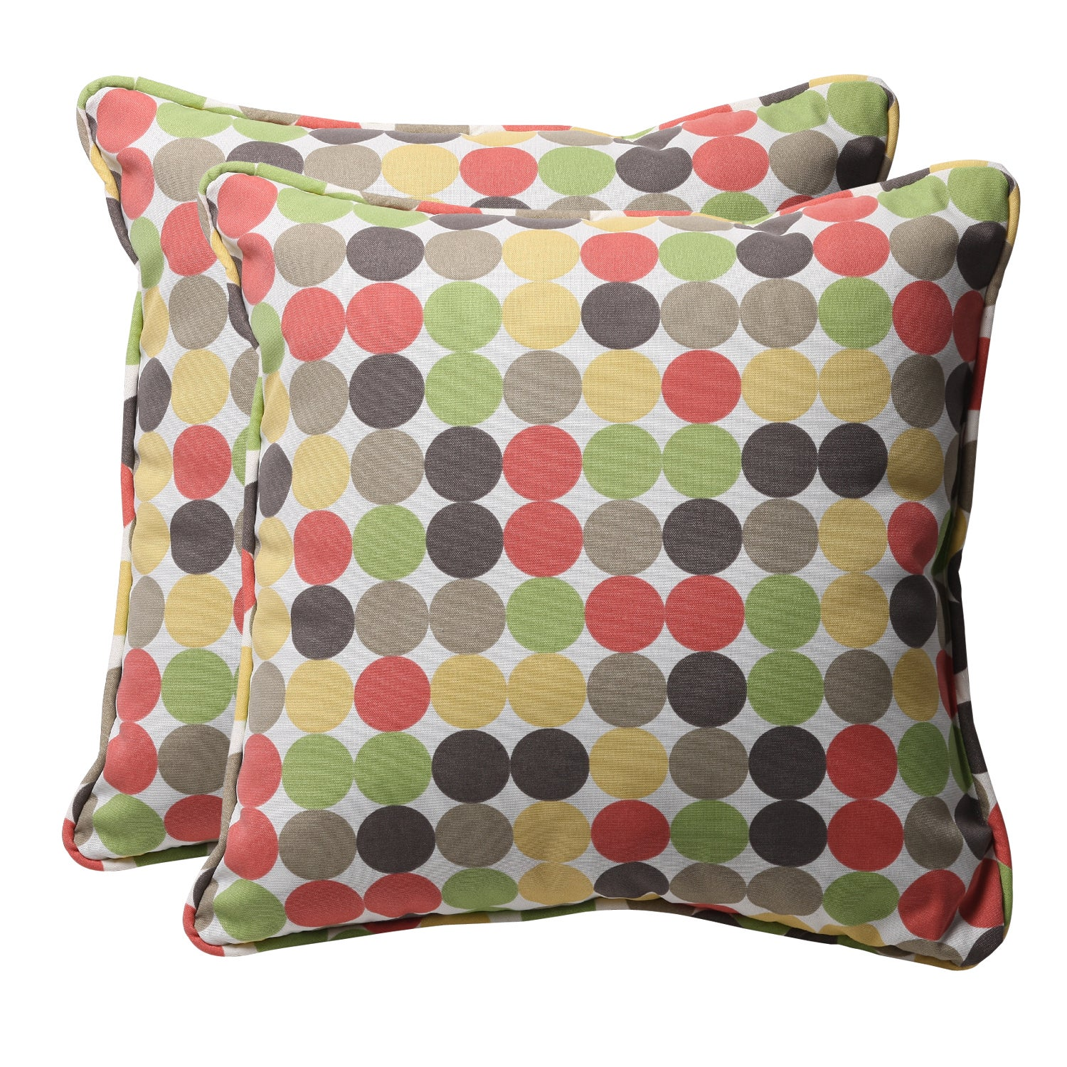 Decorative Multicolored Polka Dots Square Outdoor Toss Pillows (Set of 2)