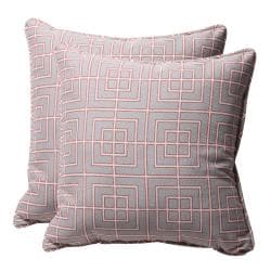 Decorative Grey/ Coral Geometric Square Outdoor Toss Pillows (Set of 2)