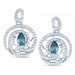 14k White Gold 1 1/4ct TDW Blue and White Diamond Earrings (H-I, I1-I2)