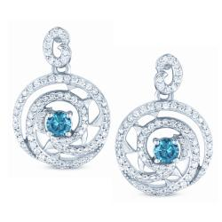 14k White Gold 1ct TDW Blue and White Diamond Earrings (H-I, I1-I2)