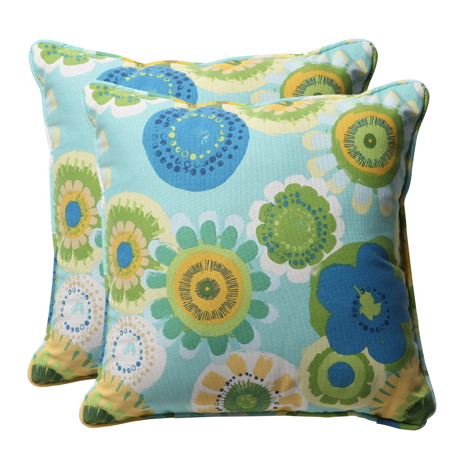 Decorative Blue/ Green Floral Square Outdoor Toss Pillows (Set of 2)