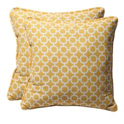 Decorative Yellow/ White Geometric Square Outdoor Toss Pillows (Set of 2)