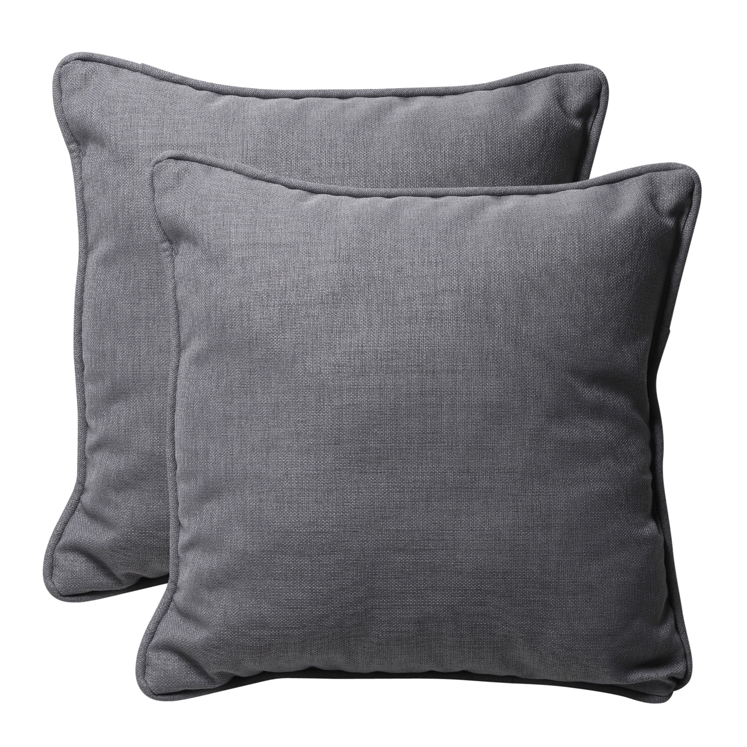 Decorative Grey Textured Solid Square Outdoor Toss Pillows