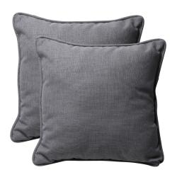 Decorative Grey Textured Solid Square Outdoor Toss Pillows (Set of 2)
