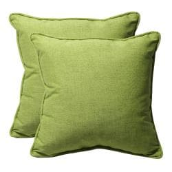 Decorative Green Textured Solid Square Outdoor Toss Pillows (Set of 2)