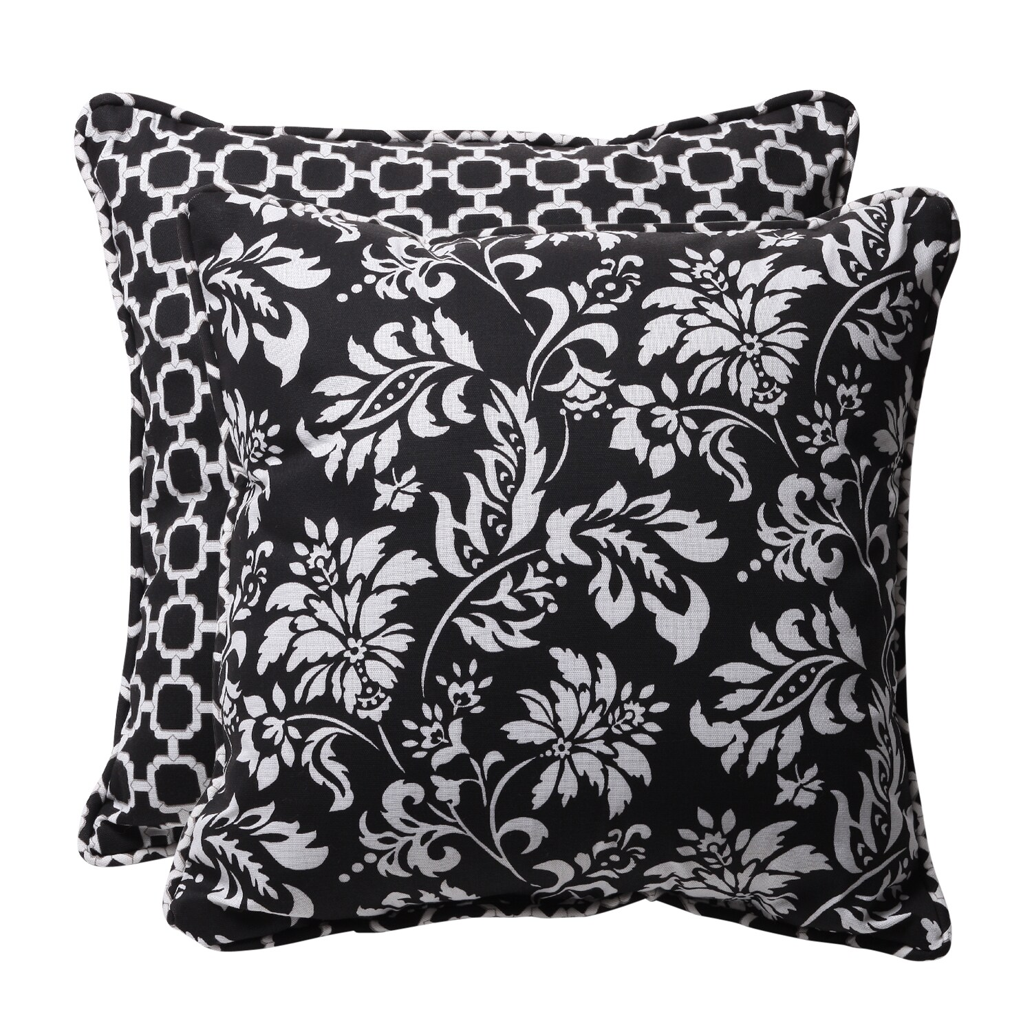 Decorative Black/ White Geometric/ Floral Square Reversible Outdoor Toss Pillows (Set of 2)