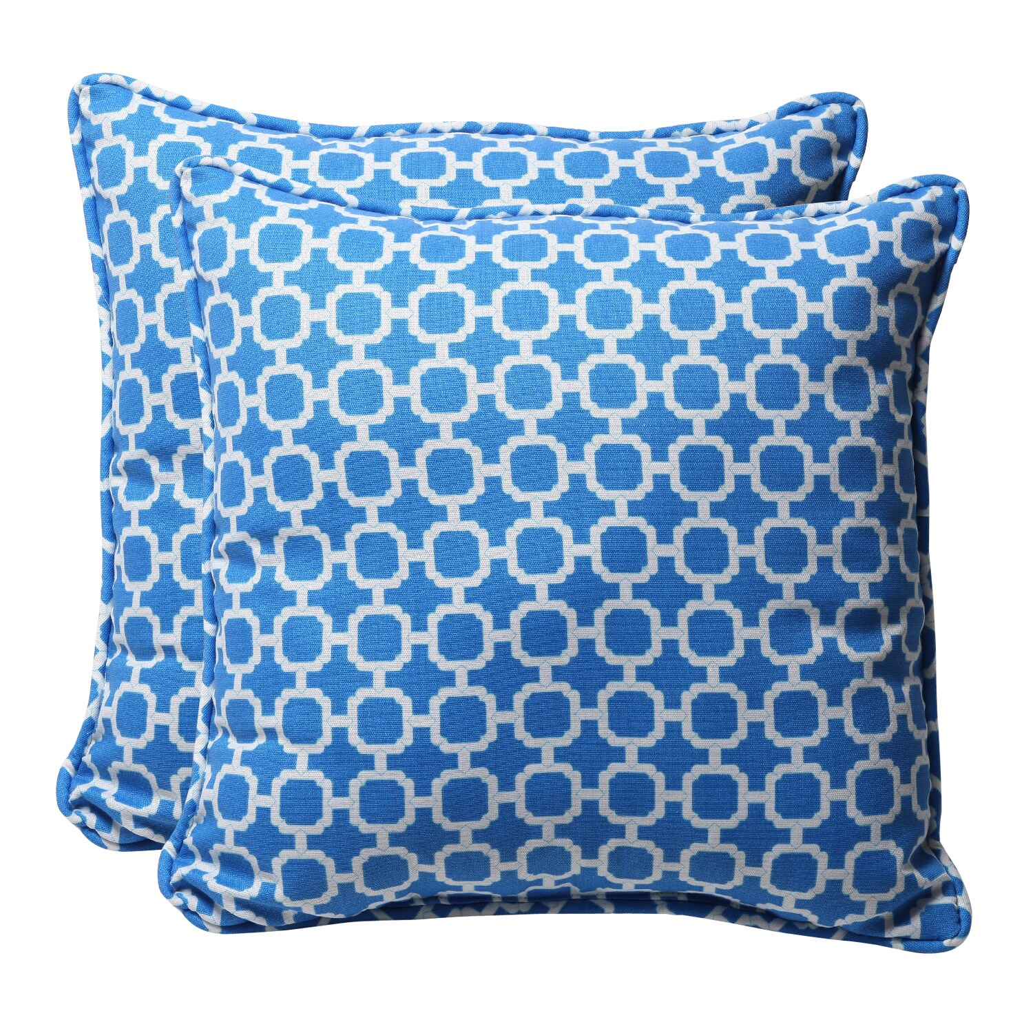 Decorative Blue/ White Geometric Square Outdoor Toss Pillows (Set of 2)