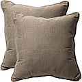 Decorative Taupe Textured Solid Square Outdoor Toss Pillows (Set of 2)
