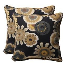 Decorative Black/ Yellow Floral Square Outdoor Toss Pillows (Set of 2)