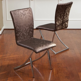 MacKenzie Brown Floral Modern Chairs (Set of 2)