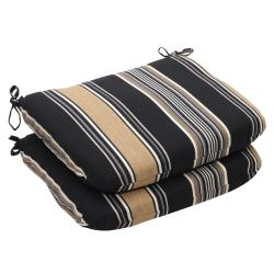 Outdoor Black and Tan Stripe Rounded Seat Cushion (Set of 2)