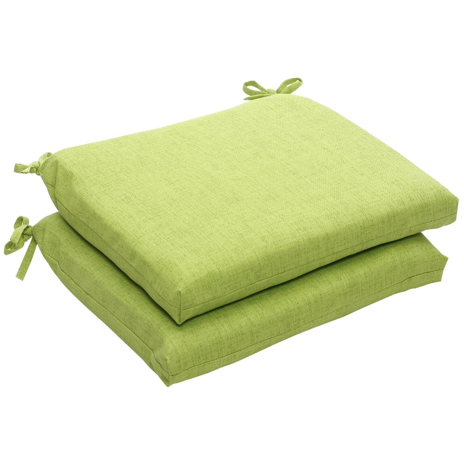 outdoor green textured solid squared seat cushions set of 2 patio