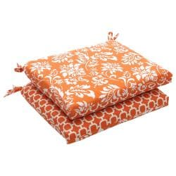 Outdoor Orange and White Floral Squared Reversible Seat Cushions (Set of 2)