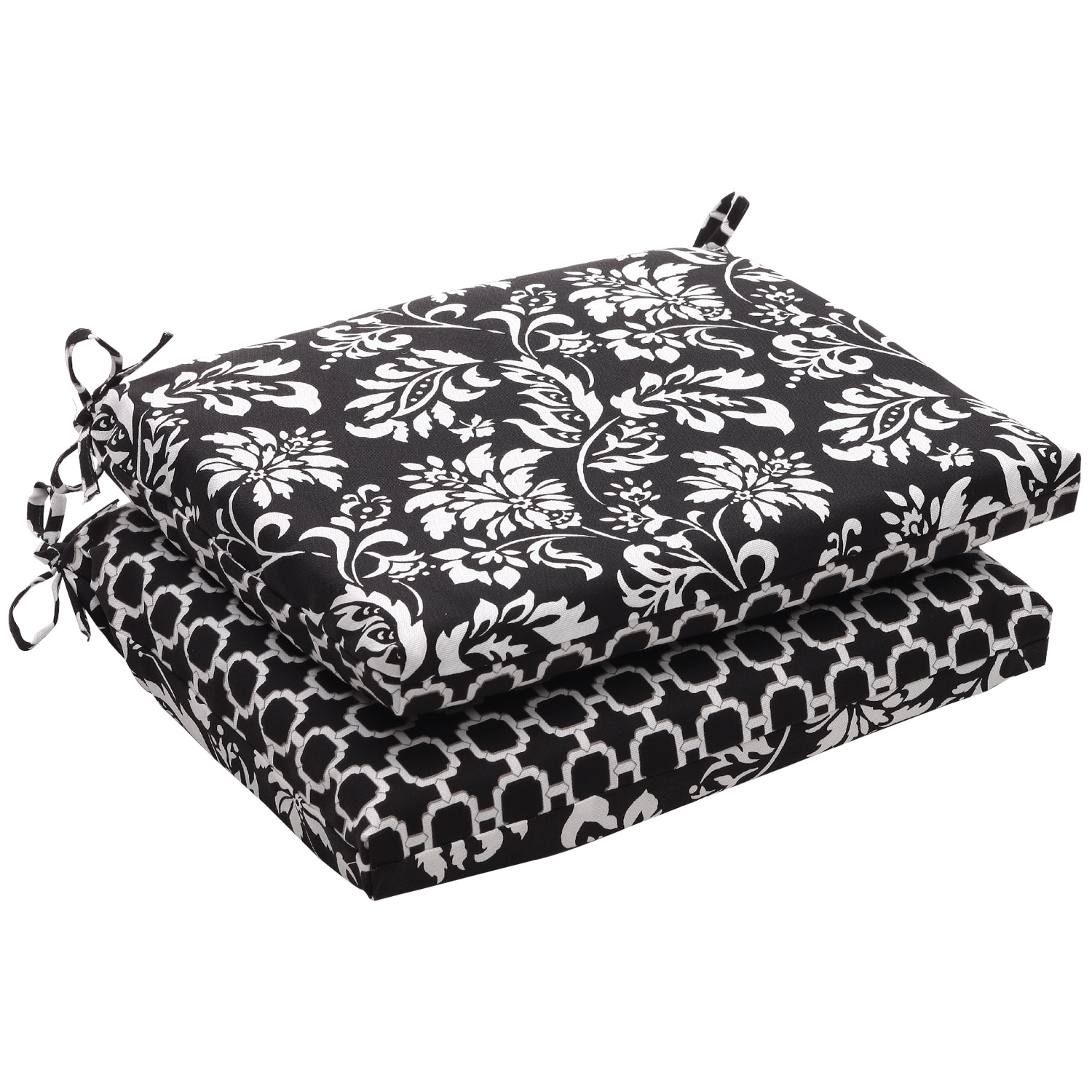Patio Furniture Cushions White: Outdoor Black And White Floral Squared Reversible Seat
