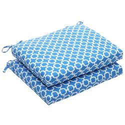 Outdoor Blue and White Geometric Squared Seat Cushions (Set of 2)