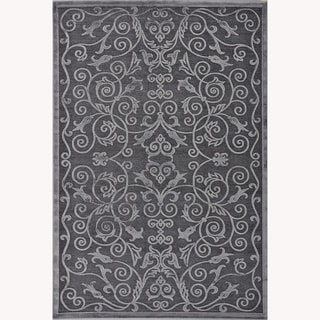 Madison Ash Grey Floral Chenille Rug (3'10 x 5'7)