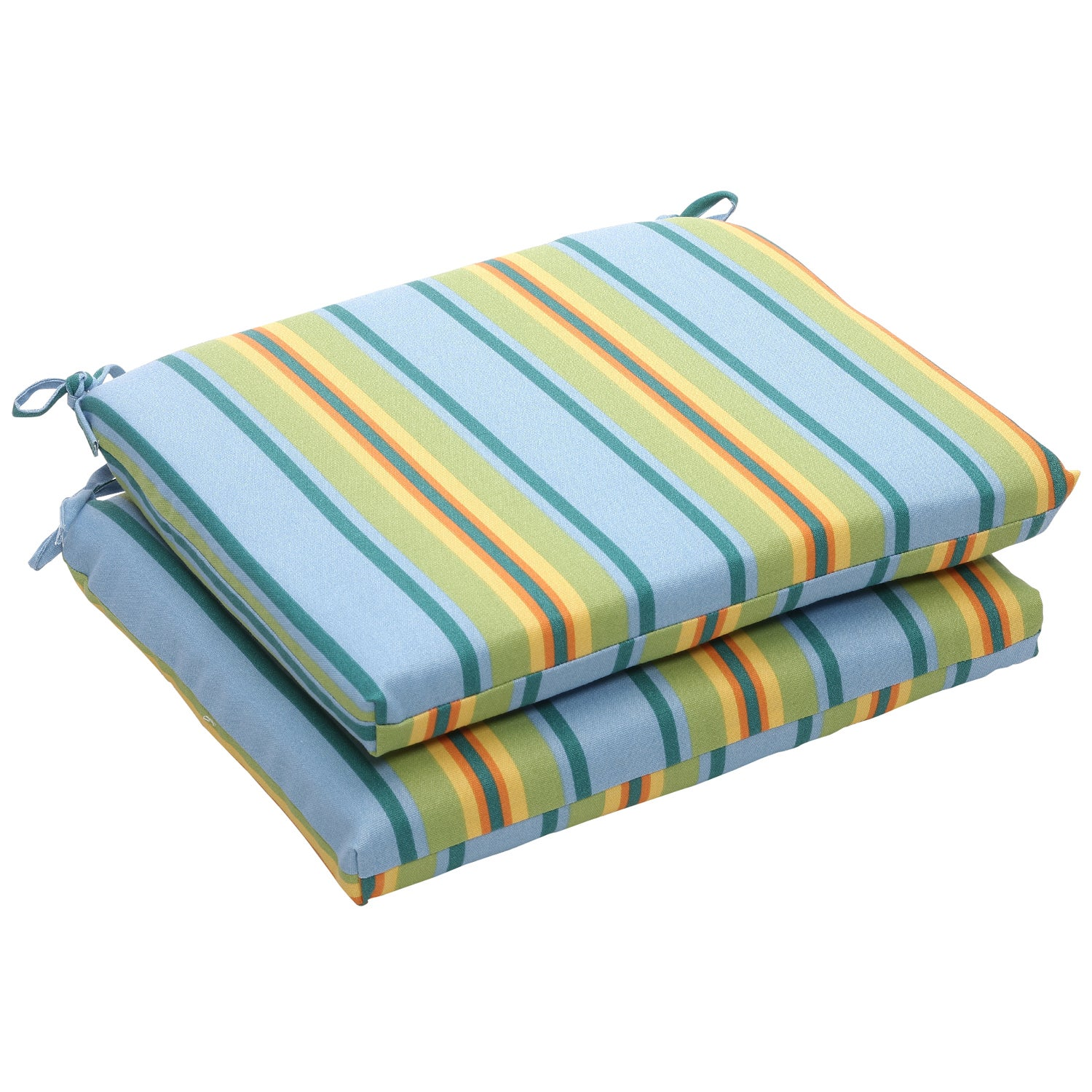 Outdoor Blue and Green Stripe Square Seat Cushions (Set of 2)