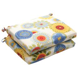 Outdoor Multicolored Floral Square Polyester Seat Cushion (Set of Two)