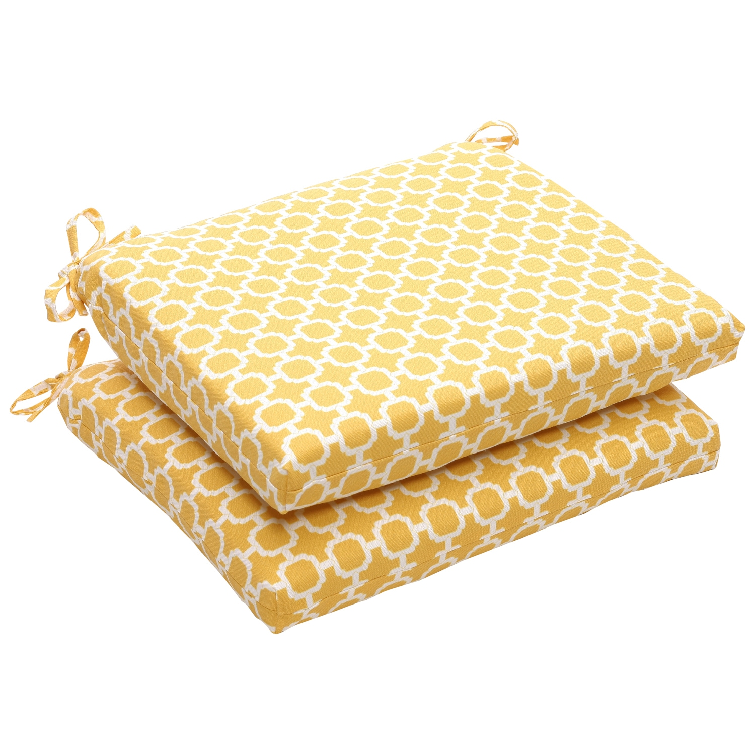 Outdoor Yellow and White Geometric Square Seat Cushion