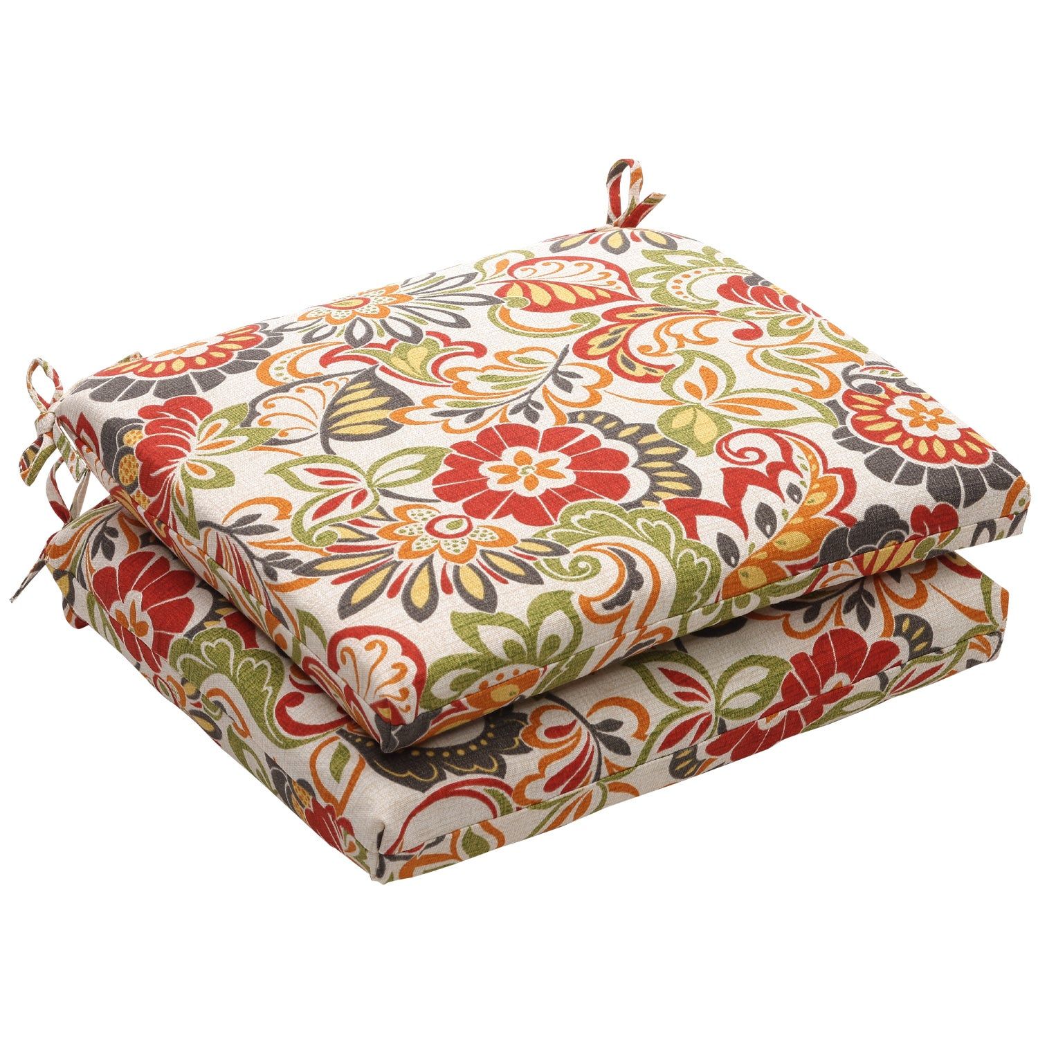 Outdoor Multicolored Floral Square Seat Cushion (Set of 2)