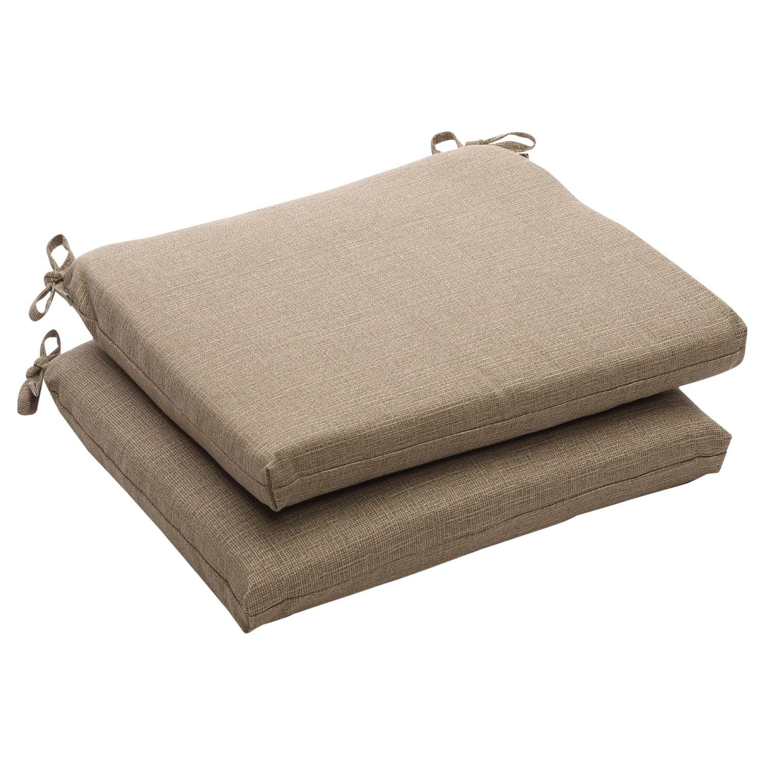 Outdoor Taupe Textured Solid Square Seat Cushions Set of