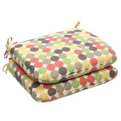 Outdoor Multicolored Polka Dots Rounded Seat Cushion (Set of 2)