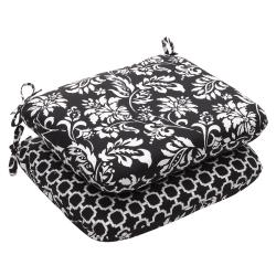 Outdoor Black and White Floral Rounded Reversible Seat Cushion (Set of 2)