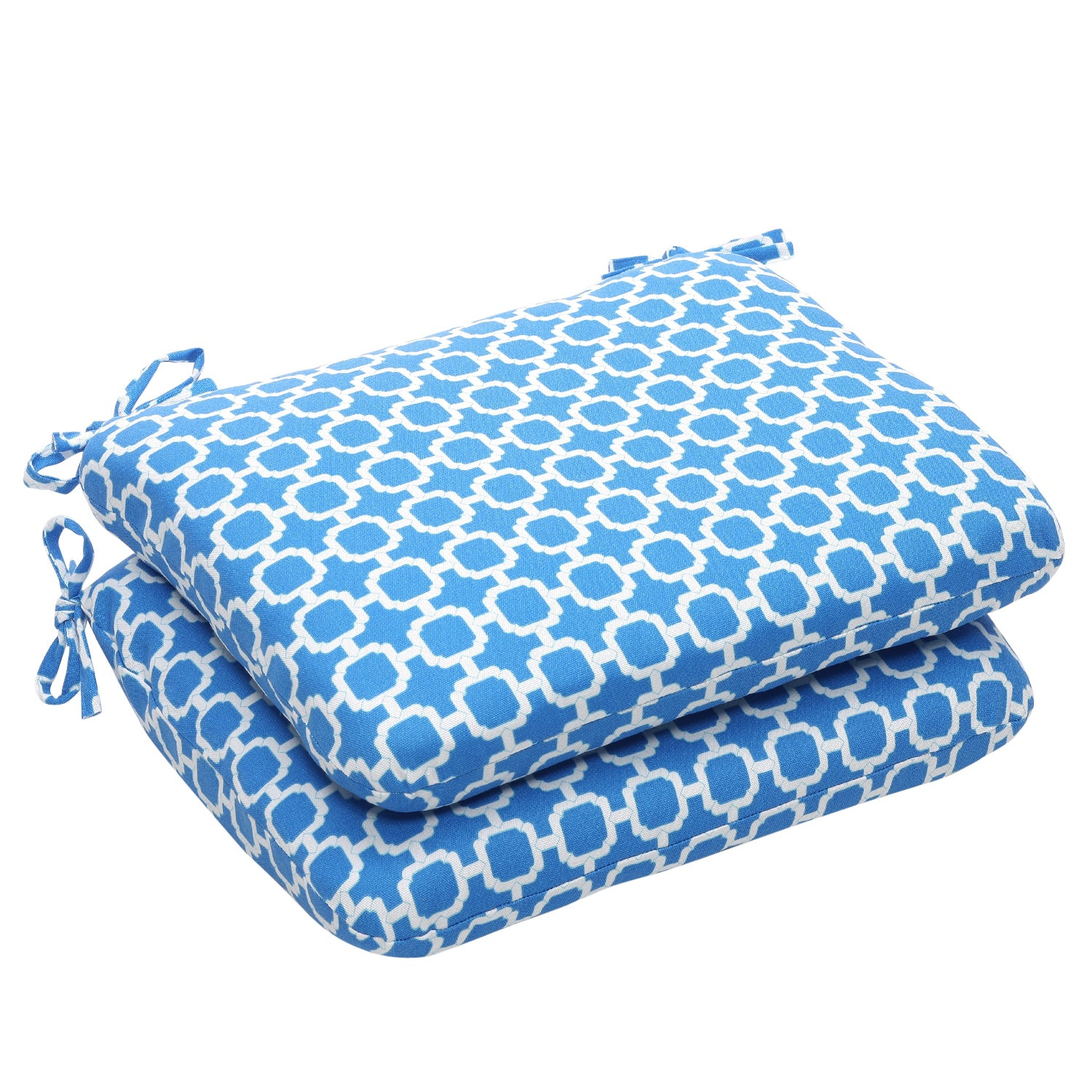 Outdoor Blue and White Geometric Rounded Seat Cushions