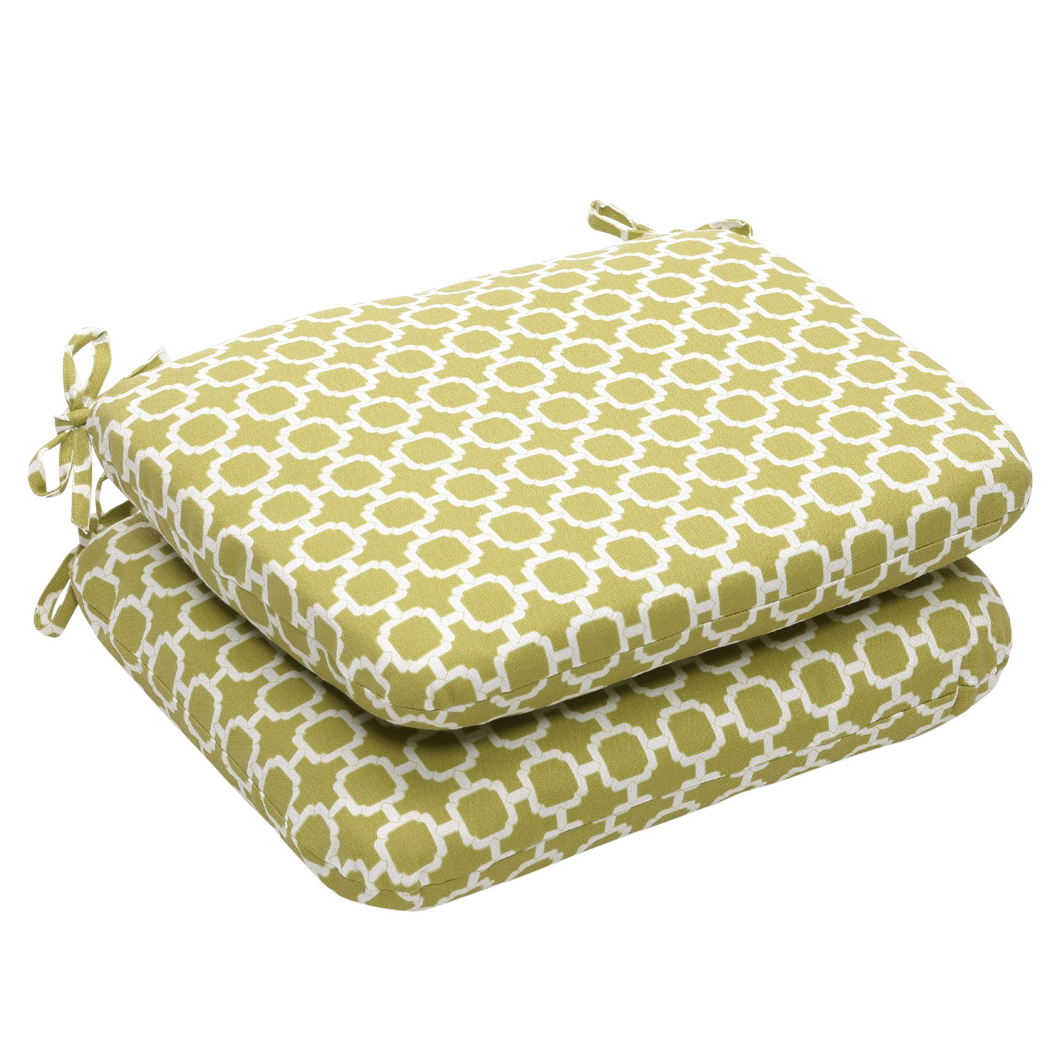 Outdoor Green and White Geometric Rounded Seat Cushion (Set of 2)