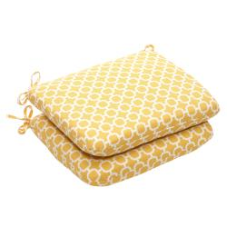 Outdoor Yellow and White Geometric Rounded Seat Cushion (Set of 2)