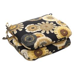 Outdoor Black and Yellow Floral Rounded Seat Cushion (Set of 2)