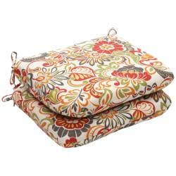 Outdoor Multicolored Floral Rounded Seat Cushions (Set of 2)