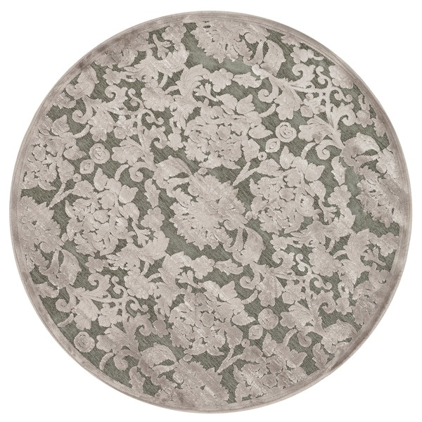 Madison Taupe/ Grey Floral Chenille Rug (3'10 Round)