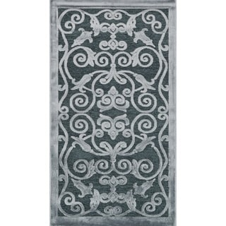Madison Ash Grey Floral Chenille Rug (2'3 x 3'9)