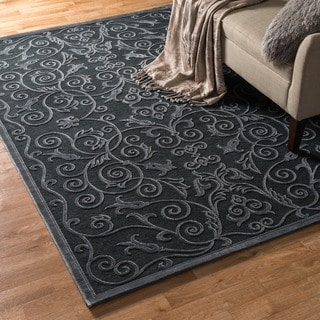 Madison Ash Grey Floral Chenille Rug (5'3 x 7'7)