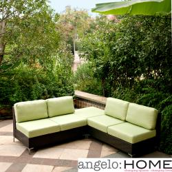angelo:HOME Napa Springs Apple Green 3 Piece Indoor/Outdoor Wicker Furniture Set