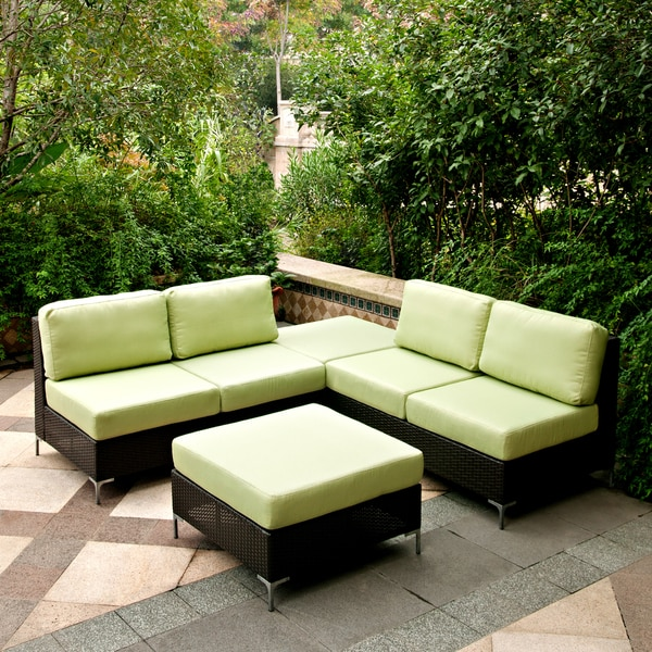 angelo:HOME Napa Springs Apple Green 3 Piece Indoor/Outdoor Wicker Furniture Set