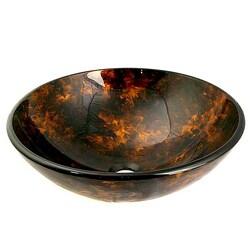 Glass Amber/ Black Bathroom Sink