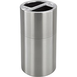 Safco Stainless-steel Dual Recycling Receptacle with a Silver Finish