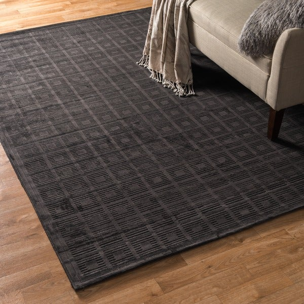 Madison Charcoal Grey Chenille Rug (3'10 x 5'7)