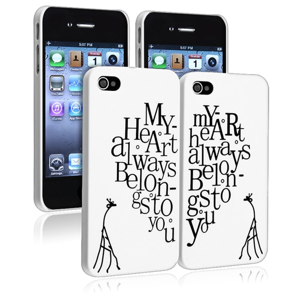 "INSTEN White with ""My Heart"" Snap-on Phone Case Cover for Apple iPhone 4/ 4S (Pack of 2)"