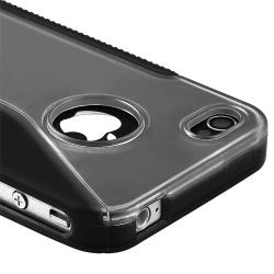 Clear/ Frost Black S Shape TPU Rubber Skin Case for Apple iPhone 4/ 4S