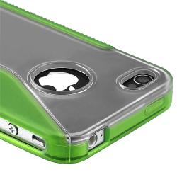 Clear/ Frost Green S Shape TPU Rubber Skin Case for Apple iPhone 4/ 4S
