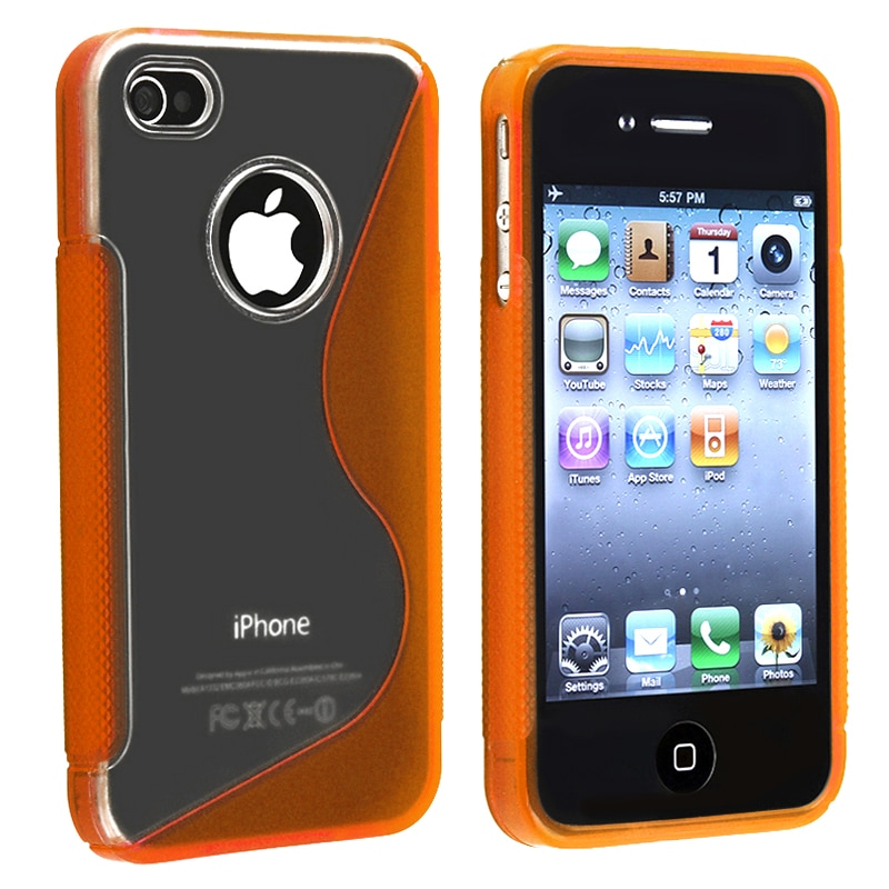 Clear/ Frost Orange S Shape TPU Rubber Case for Apple iPhone 4/ 4S