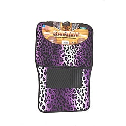 Velour / Plush Purple Safari Cheetah / Leopard Car Floor Mats (Set of 4)