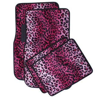 Oxgord Velour / Plush Safari Pink Cheetah / Leopard Car Floor Mats (Set of 4)
