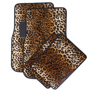 Oxgord Velour / Plush Beige / Tan Safari Cheetah / Leopard Car Floor Mats (Set of 4)