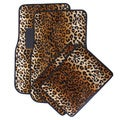 Velour / Plush Beige / Tan Safari Cheetah / Leopard Car Floor Mats (Set of 4)
