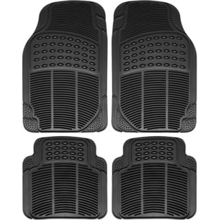Heavy Duty All Weather Universal Fit Rubber Black Floor Mats for Cars, Trucks, SUVs, and Vans (Set of 4)